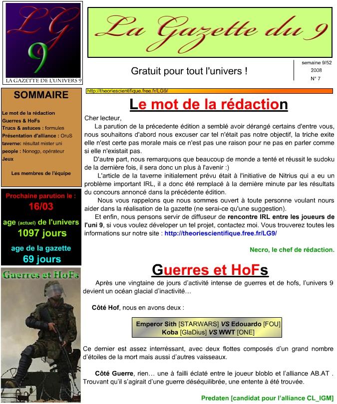 La gazette de l'univers ! LG9-1